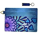 Anna by Anuschka Leather Slim Credit Case Wallet Key Fob Bundle (Summer Bloom Blue)