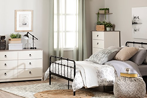 Bedroom South Shore Plenny 6-Drawer Double Dresser White Wash and Weathered Oak dresser
