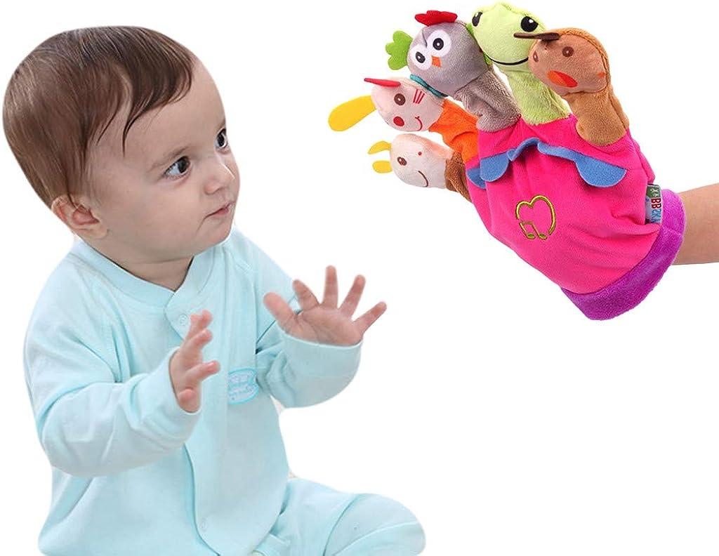 Mignon Gant De Marionnette En Peluche Doigt Poup/ée De Bande Dessin/ée Doigt Animal Interaction Parent-enfant Avec Boite /à Musique Gants /à Cinq Doigts Gants