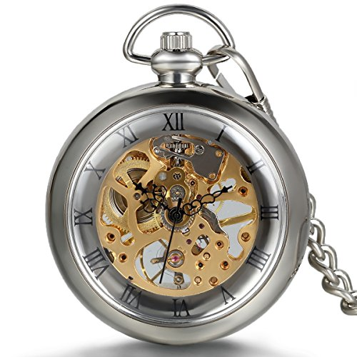 Face Pocket Watch Chain (JewelryWe New Silver Roman Numbers Open Face Mechanical Pocket Watch with Chain Belt)