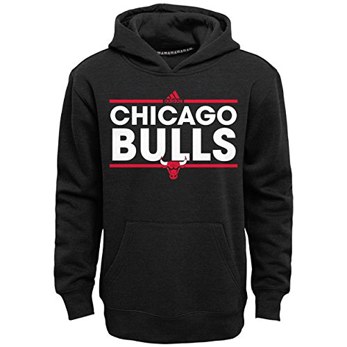 adidas Chicago Bulls Youth Power Play Hooded Sweatshirt - Black, Youth Small