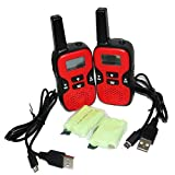 LeeKer LK-R020YR Walkie Talkies for Kids with Rechargeable Batteries and USB Cables 2 Way radios Toys for Children 22 CH 462-467MHZ VOX LCD Flashlight (Red, 1 Pair)