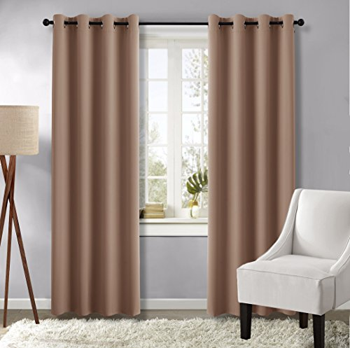 Window Treatments Ideas (Cappuccino Bedroom Blackout Curtains and drapes - (Cappuccino Color) 52 by 95 Inch, Set of 2 Pieces, Window Treatment Thermal Insulated Solid Grommet Blackout Draperies by NICETOWN)