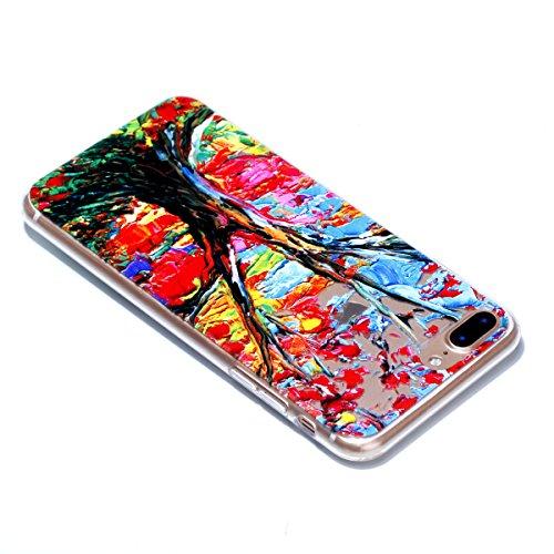 iPhone 7 Plus Custodia , Leiai Moda Soft Pittura A Olio Albero Trasparente Silicone Morbido PU Protettivo Antiurto Cover Case Shell Custodia per Apple iPhone 7 Plus