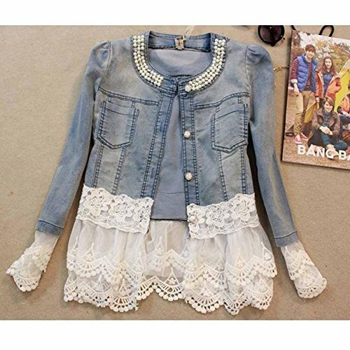 6e82e05f003516 Women Denim Jacket Long Sleeve Lace Jeans Jackets - as Show Jeans Coat