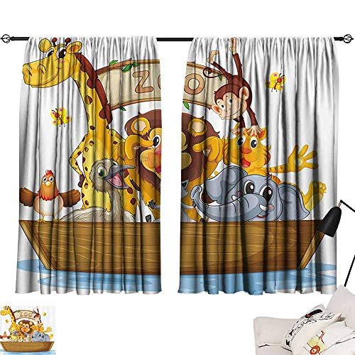 Price comparison product image SEMZUXCVO Insulated Sunshade Curtain Kids Illustration of Boat Full of Cartoon Style Cute Animals Zoo Theme Lion Giraffe Monkey Durable W63 x L72 Multicolor