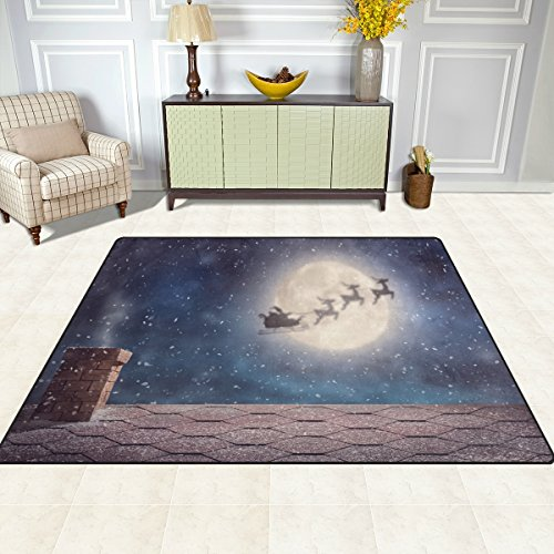Full Moon Santa - ALAZA Indoor Rug Merry Christmas Full Moon Santa Clause Riding Reindeer Over The Red Roof Kids Children Area Rugs Winter Holiday Non-Slip Floor Mat Resting Area Doormats for Living Dining Bedroom 5.3'