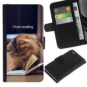 KingStore / Leather Etui en cuir / Apple Iphone 4 / 4S / Libro de lectura divertida del gato de pelo largo de Brown