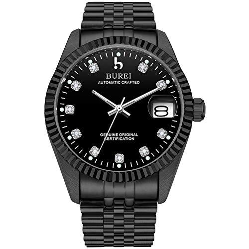 Reloj automático de lujo BUREI para hombre, dos tonos, de acero inoxidable, relojes de pulsera, automático