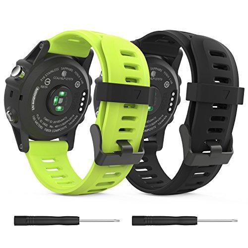 MoKo Garmin Fenix 3/Fenix 5X Watch Band, Soft Silicone Replacement Watch Band for Garmin Fenix 3/Fenix 3 HR/Fenix 5X/5X Plus/D2 Delta PX/Descent Mk1 Smart Watch - Black & Green