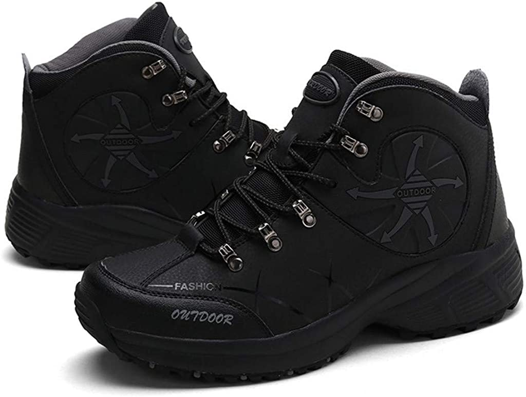 Dainzuy Mens High-Top Hiking Shoes Fashion Sneaker Waterproof Skate Shoes Outdoor Sport Warm Ankle Snow Boots