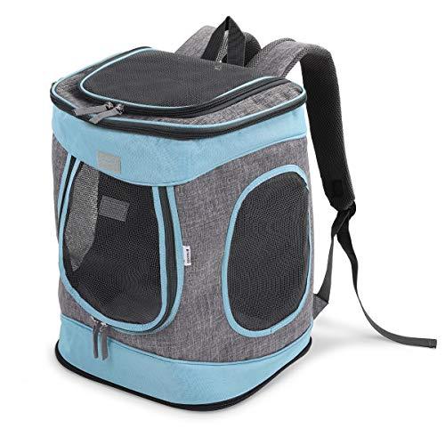 🥇 Navaris Mochila para Transportar Perro o Gato -Transportín Plegable Porta Mascota – Bolso Acolchado Transpirable para Mascotas pequeñas máx. 15 KG