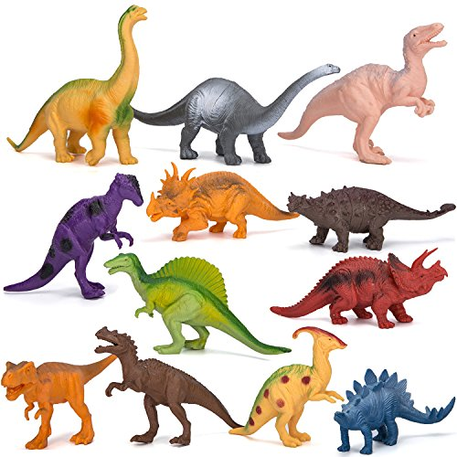 (Kimicare Dinosaur Figure Toys, 7 Inch Jumbo Plastic Dinosaur Playset, STEM Educational Realistic Dinosaur Figures for Boys Toddlers Including T-Rex, Stegosaurus, Triceratops, Monoclonius, 12 Pack)