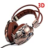 Xbox One PC PS4 USB Gaming Headphones with Mic, 7.1 Surround Sound 3D Vibration Deep Bass Stereo LED Light (Brown)