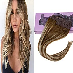 "VeSunny 16"" Halo Hair Extensions Remy Human Hair Balayage Color #6 Medium Brown Fading to #60 Platinum Blonde Highlighted Brown No Glue Halo Couture Brown Hair Extensions 11"" Width 80G/Set"