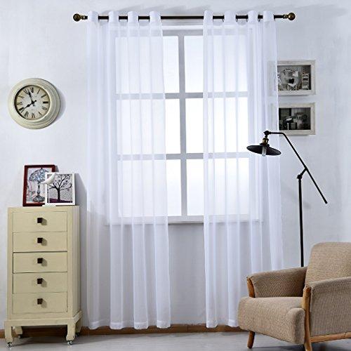 iZUHAUSE Transparente Gardine Gardinenschals Schlaufenschal Vorhang 145*245cm Deko für Wohnzimmer Schlafzimmer Studierzimmer