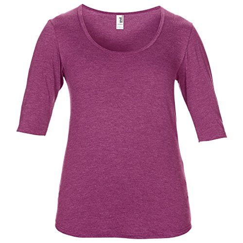 Anvil- Camiseta de media manga con cuello redondo para mujer Frambuesa jaspeado