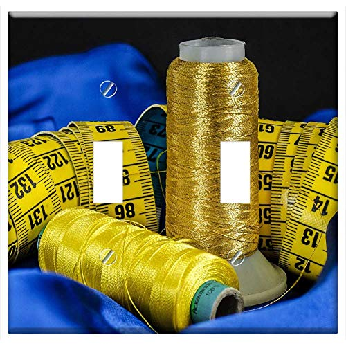 Switch Plate Double Toggle - Sewing Cotton Thread Material Tape Measure Blue