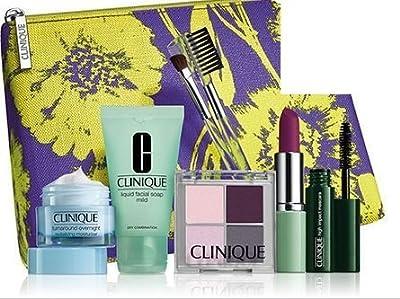 2015 Clinique Makeup Skincare Gift Set (Violet) Turnaround Overnight Moisturizer & More