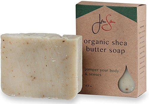 Men's Soap Bar - JenSan Frontiersman Exfoliating and Moisturizing Organic Shea Butter Soap for Men