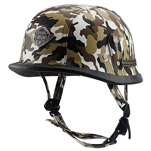 (Woljay Leather Motorcycle Goggles Vintage Half Helmets Motorcycle Biker Cruiser Scooter Touring Helmet Camouflage (Yellow))
