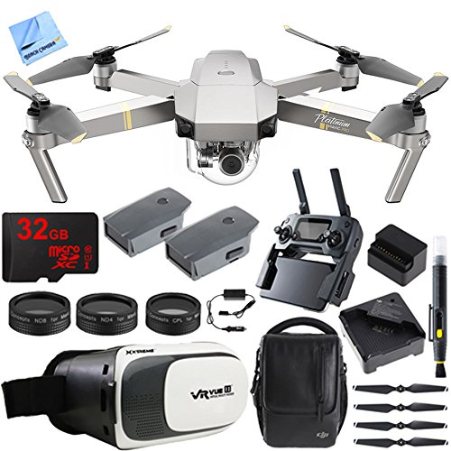 DJI Mavic Pro Platinum Quadcopter Drone Fly More Combo Pack 4K Camera + Wi-Fi ,3 Batteries, DJI Custom Case , Charging Hub , Three Piece Multi Coated Filter Kit VR Goggles Virtual Reality Experience
