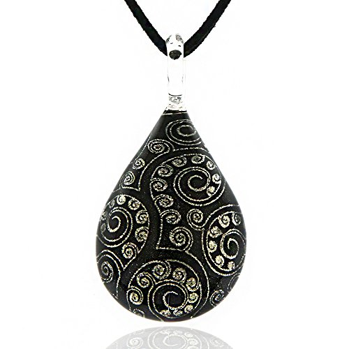 Hand Blown Venetian Murano Glass Abstract Tree of Life Black Art Pendant Necklace, 17-19 inches