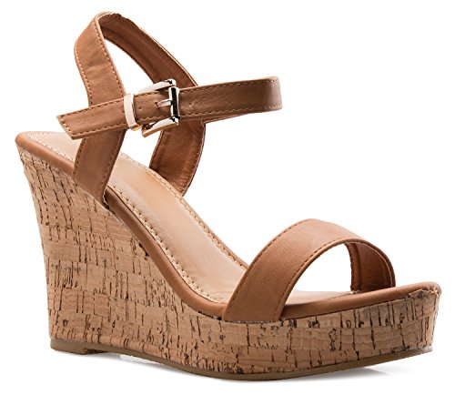 OLIVIA K Women's Open Toe Strappy Mid High Wedge Heel Wood Decoration Buckle Shoes Sandals (Wood Wedge Sandal)