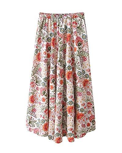Femme Lin Imprim Floral t Boho Littrature Et Art Style Taille lastique Swing Longue Jupe t Plage Voyager A Line Grande Taille Jupe Longue Maxi Color 6
