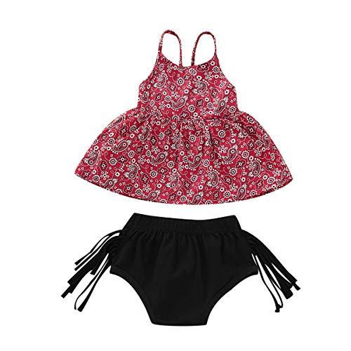 Baby Girl Summer Sleeveless Floral Print Backless Off Shoulder Sling Princess Top Short Pants Set (Red, 1-2T)