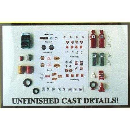 (HO Scale Post 1940s Gas Station Set -- Kit )