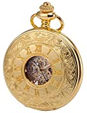 KS Pocket Watch with Chain for Men Skeleton Steampunk Mechanical Pocket Fob Watch Gold KSP031