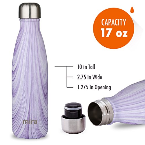 MIRA Vacuum Insulated Travel Water Bottle | Leak-proof Double Walled Stainless Steel Cola Shape Portable Water Bottle | No Sweating, Keeps Your Drink Hot & Cold | 17 Oz (500 ml) | Purple Granite