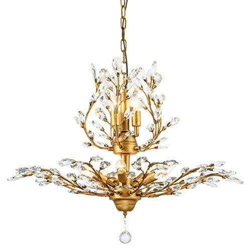 Ganeed Vintage K9 Clear Crystal Chandeliers,Ceiling Lighting,Pendant Lighting Flush Mounted Fixture with 8 Light for Living Room Dinning Room Restaurant Porch Hallway Gold