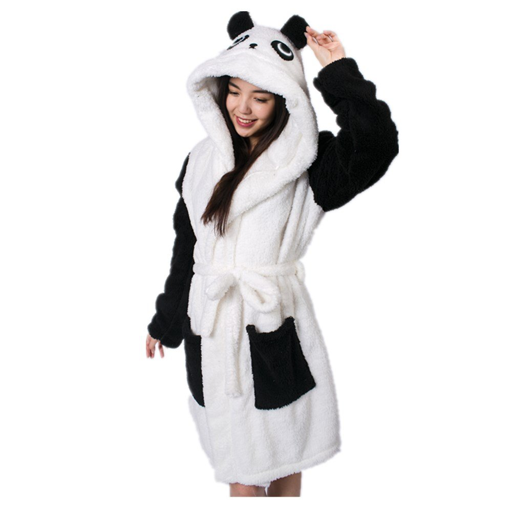LemonGo Adult Animal Hooded Warm Cosplay Bathrobe Pajamas