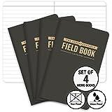 "The Indestructible, Waterproof, Tearproof, Weatherproof Field Notebook - 3.5""x5.5"" - Black- Lined Memo Book - Pack of 4"