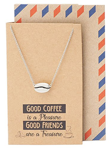 Pendant Bean - Quan Jewelry Cute Coffee Necklace, Handmade Gifts for Caffeine Coffee Lovers, Featuring Coffee Bean Pendant Charm, Comes with Quote Card, Gifts for Good Friends and Family