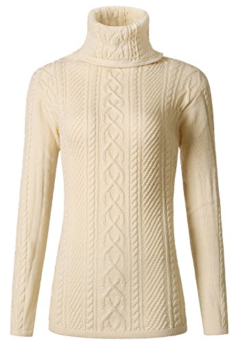 MIEDEON Women Polo Neck Knit Stretchable Elasticity Long Sleeve Slim Sweater (Beige, S)