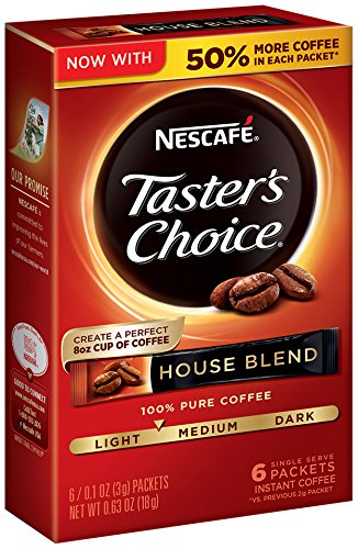 Nescafe Taster's Choice Instant Coffee, House Blend, 6 Count (Pack of 12)