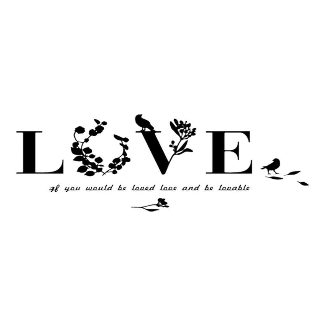 D/écoration Murale Sticker Mural Miroir Acrylique DIY D/écoration Mur de fond Horloge Murale Miroir Autocollants Citation en Love Sticker Mural Chambre pour Enfants Parents Couples Saint-Valentin WINJIN