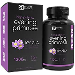 Evening Primrose Oil (1300mg) 120 Liquid Softgels, Cold-Pressed with No fillers or Artificial Ingredients; Non-GMO & Gluten Free, Made in the USA