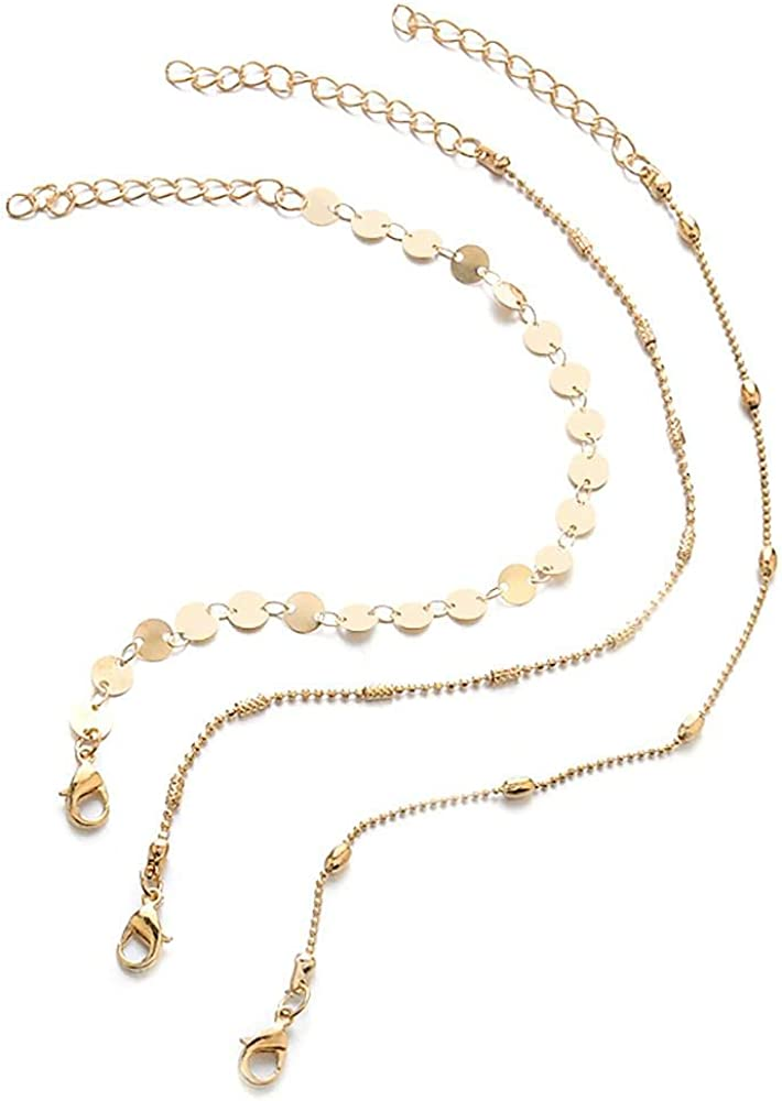 Mini Trinkets Cha/îne de cheville 3 en 1 r/églable en or et argent