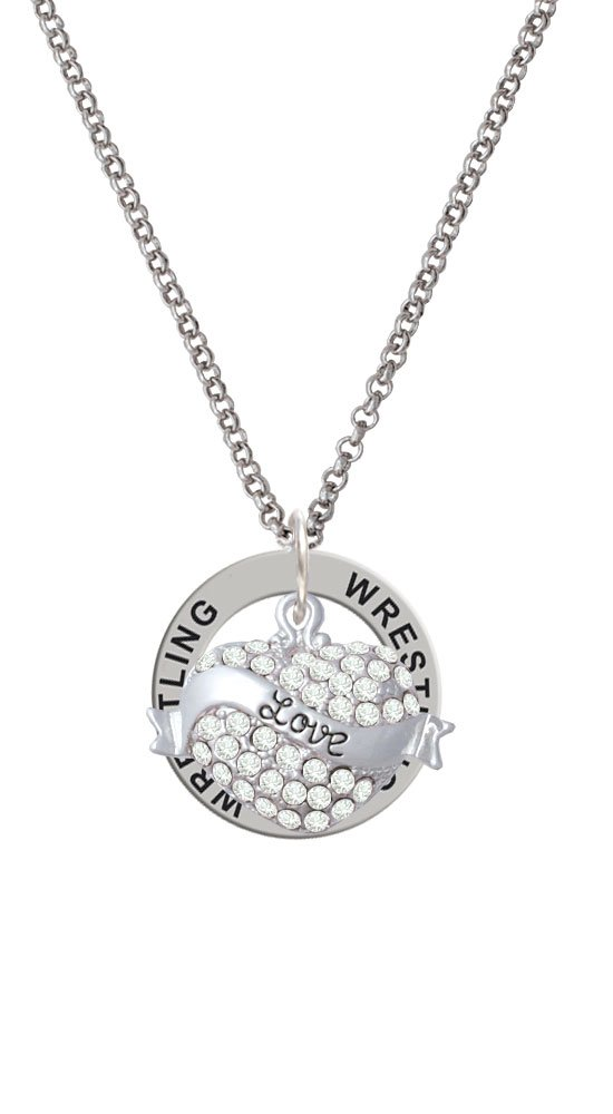 Love Banner on Clear Crystal Heart - Wrestling Affirmation Ring Necklace by Delight Jewelry