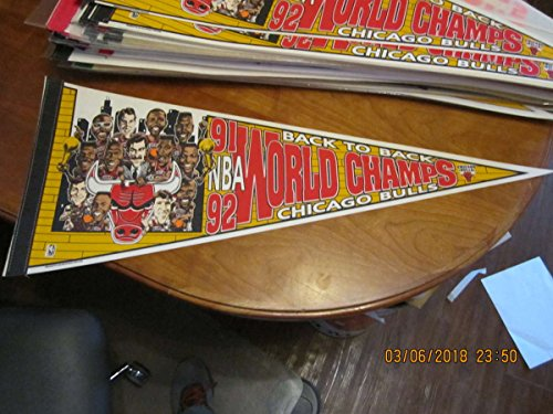 1992 back to back Champions Chicago Bulls Basketball Pennant team picture