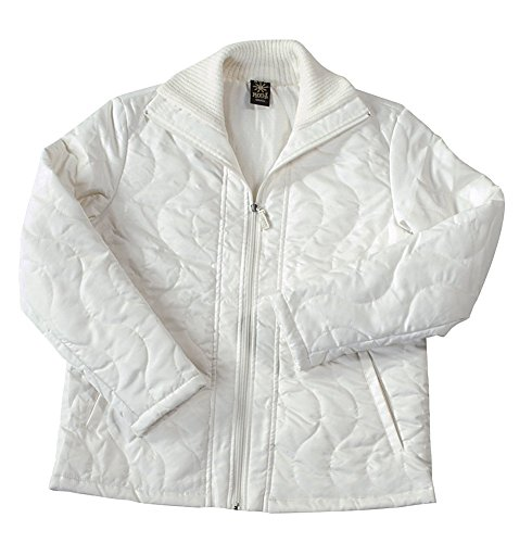 (iCantoo Sun Moda Women's Quilted Microfiber with Chanille Full Zip Jacket Ivory)