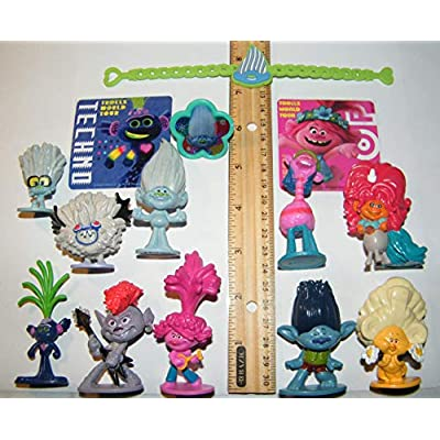 HappiToys Trolls World Tour Movie Deluxe Figure Set of 14 Toy Kit with 10 Figures, 2 Fun Stickers, Bracelet/Ring Featuring Queen Poppy, Branch, Trollex, Trollzart and Many More!: Toys & Games