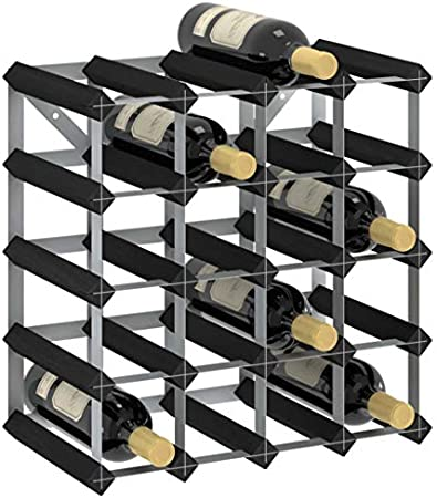vidaXL Madera Maciza de Pino Botellero Armario Soporte Vino Vinoteca Estante Organizador Portabidones Colocación Decoración para 20 Botellas Negro