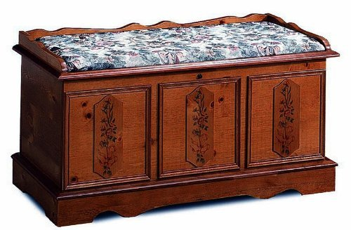 Coaster Cedar Wood Chest, Pine Finish with Hand Painted Flor