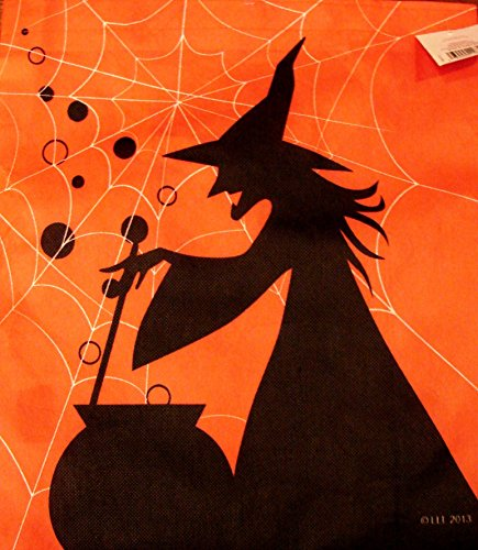 Large Halloween Trick or Treat Bag Candy Tote~Orange with Witches