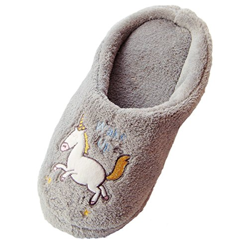 Caramella Bubble unicorn Fleece Lined Slip-On Memory Foam Women's Fleece House Slippers indoor/outdoor